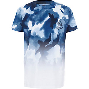 Boys white camo fade short sleeve T-shirt