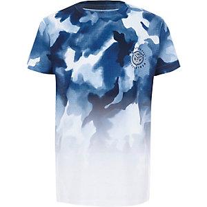 Wit T-shirt met korte mouwen en camouflageprint met kleurverloop voor jongens