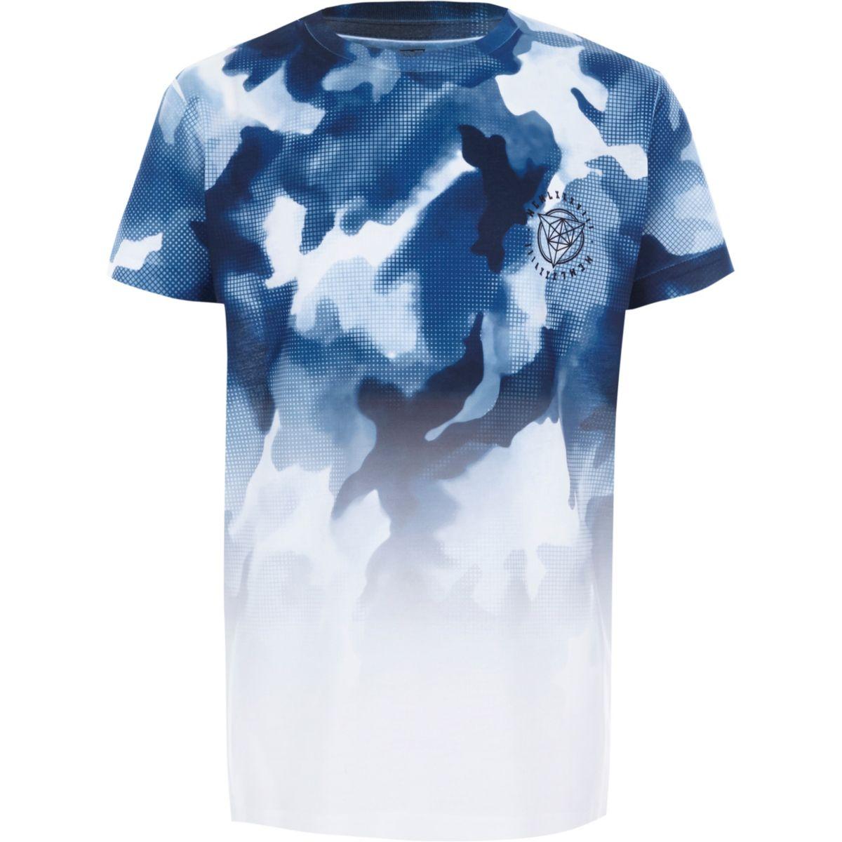 Boys white camo fade short sleeve T-shirt