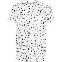 Boys white mono zodiac doodle print T-shirt