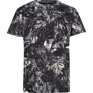 Boys khaki palm leaf print T-shirt