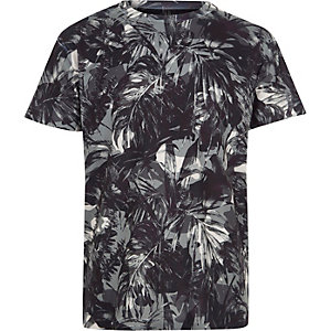 Boys khaki palm leaf print T-shirt