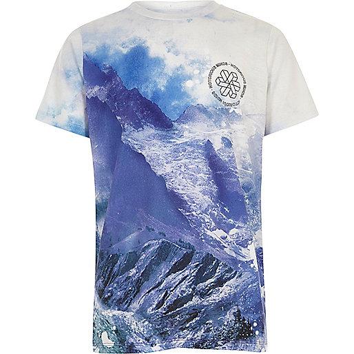 Boys blue landscape print T-shirt