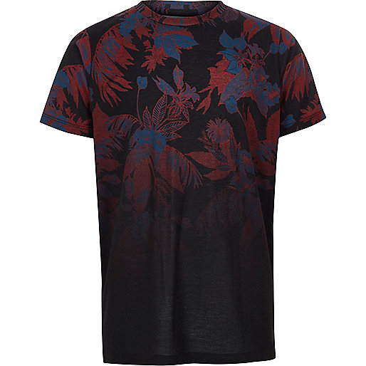 Boys black floral fade print T-shirt