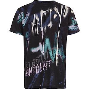 Boys black graffiti spray print T-shirt