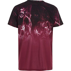 Boys red skull smoke print T-shirt