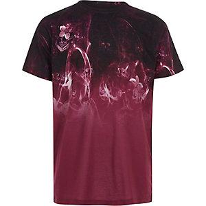 T-shirt imprimé tête de mort et fumée rouge pour garçon