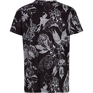 T-shirt imprimé à fleurs noir et blanc pour garçon