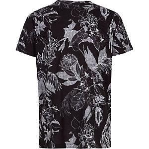 Zwart T-shirt met zwart-witte bloemenprint voor jongens