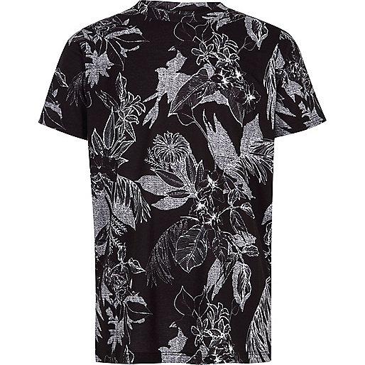 Boys black mono floral print T-shirt