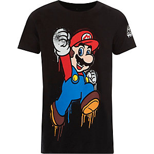 T-shirt imprimé Super Mario noir pour garçon