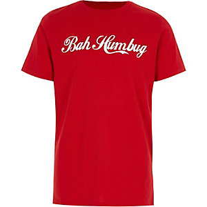 Boys red 'bah humbug' print T-shirt