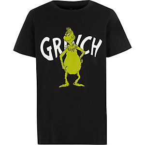 Boys black Grinch print T-shirt
