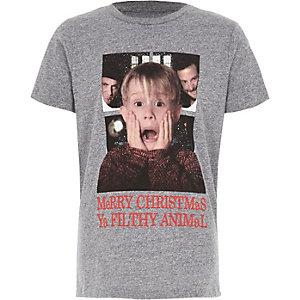 T-shirt de Noël Home Alone gris pour garçon