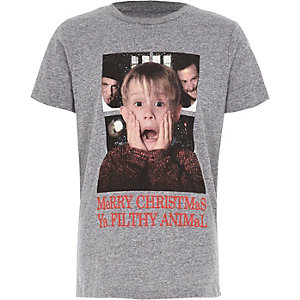 Grijs kerst-T-shirt met 'Home alone'-print