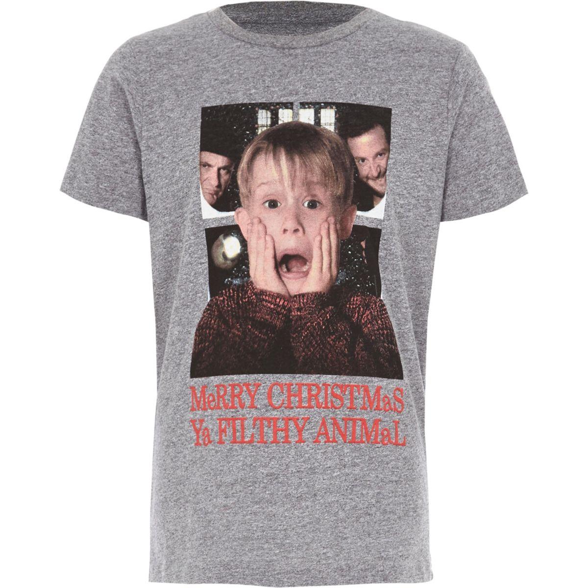 Boys grey Home Alone Christmas T-shirt