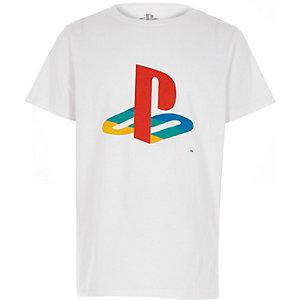 Wit T-shirt met Playstation-print voor jongens