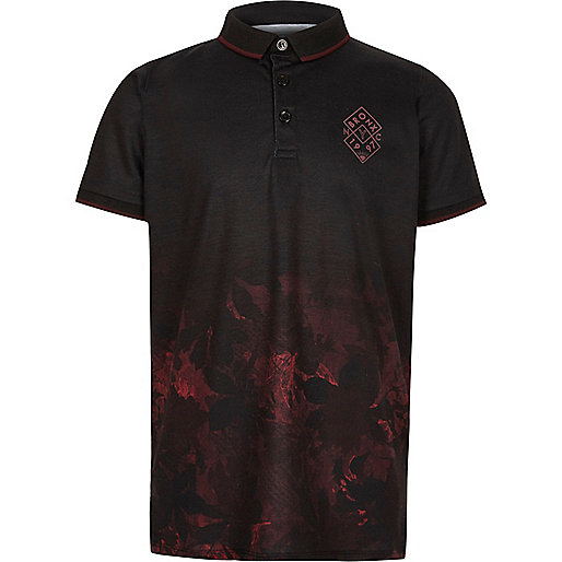 Boys black leaf fade print polo shirt