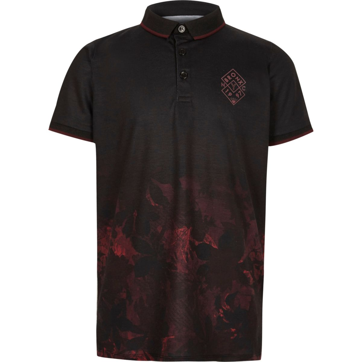 Boys black leaf fade print polo shirt