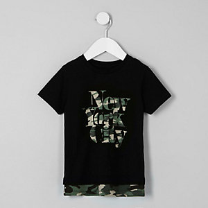 Mini boys black 'NYC' camo layer T-shirt