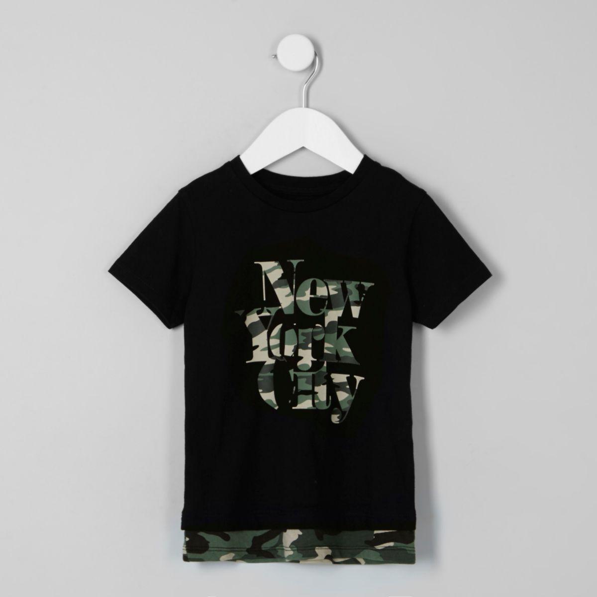 Mini boys black 'NYC' camo layer T-shirt