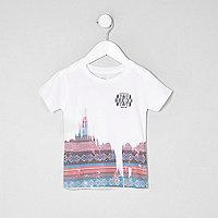 Mini boys white aztec print T-shirt