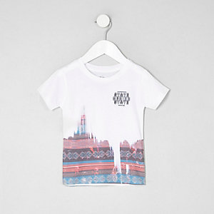 Mini boys white aztec print T-shirt
