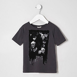 Mini boys dark grey skull print T-shirt