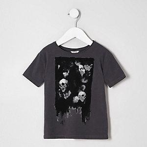 Mini - Donkergrijs T-shirt met doodshoofdprint voor jongens