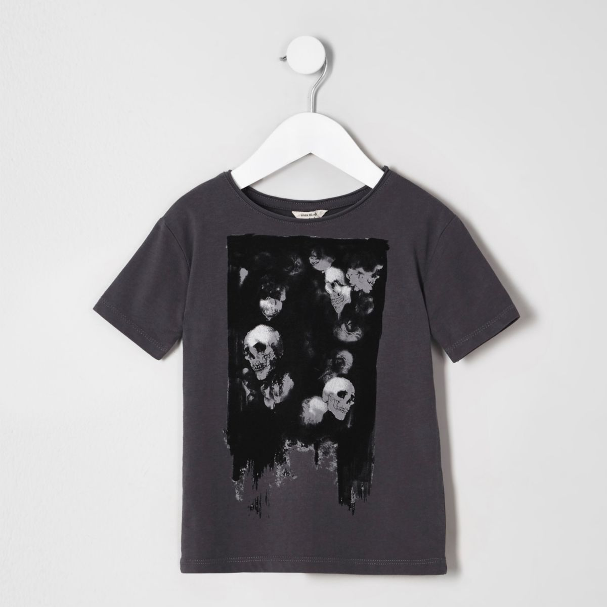 Mini boys dark grey skull print T-shirt