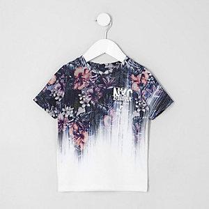 T-shirt blanc à imprimé fleuri délavé mini garçon