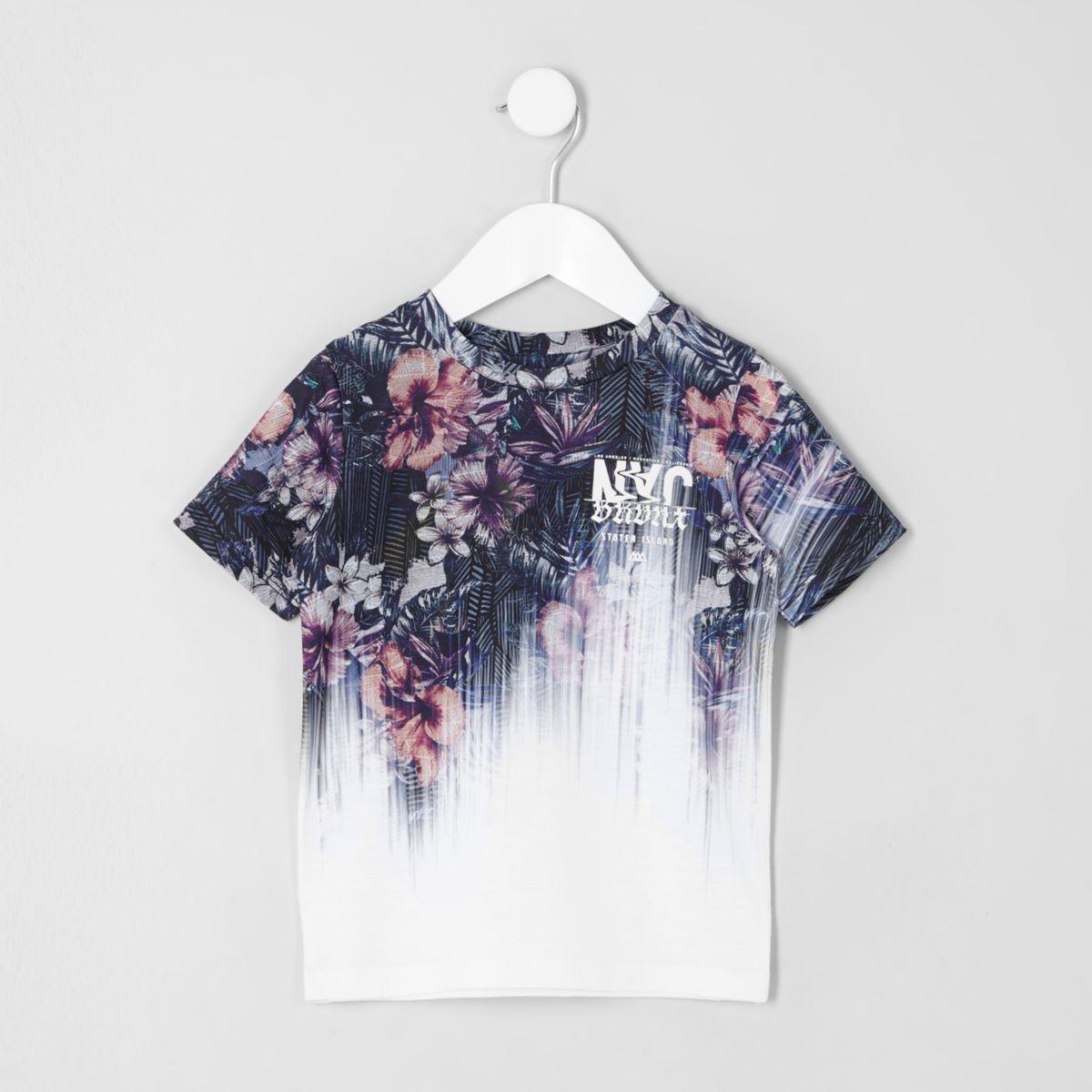 Mini boys white floral fade print T-shirt