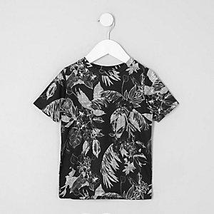 Mini - Zwart T-shirt met zwart-witte bloemenprint voor jongens