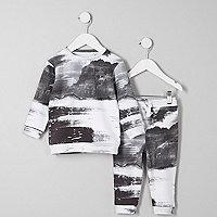 Mini boys mono scene print sweatshirt outfit