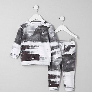 Mini - Outfit met zwart-wit sweatshirt met print voor jongens
