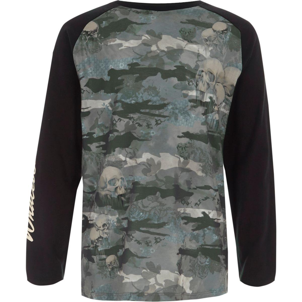 Boys khaki camo long sleeve raglan T-shirt