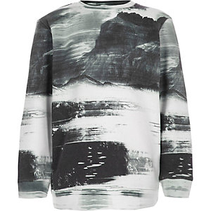 Boys white smudge print sweatshirt