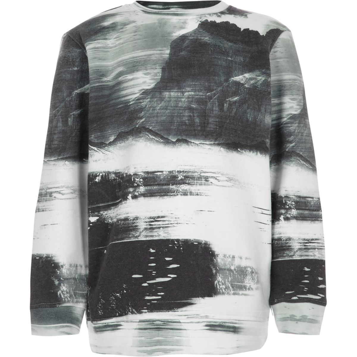Boys white smudge print sweatshirt