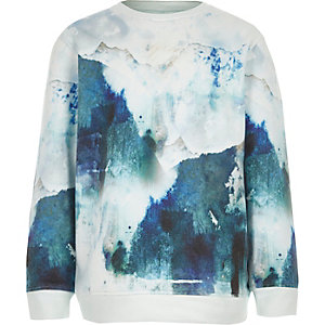 Boys blue smudge print sweatshirt