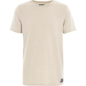 Kiezelkleurig T-shirt met wafelmotief voor jongens