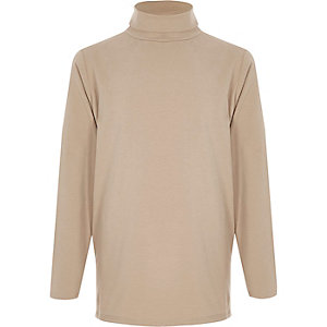Boys camel roll neck top