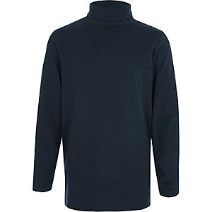 Boys navy roll neck top