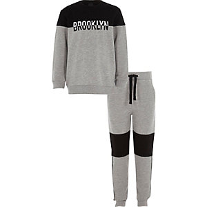 Boys black 'Brooklyn' block sweatshirt outfit