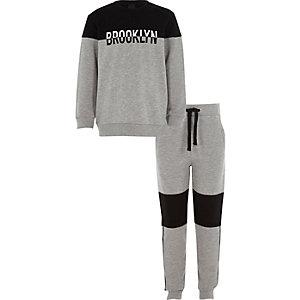 Boys black 'Brooklyn' block sweatshirt outfit