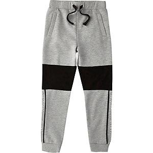 Boys marl grey block 'Brklyn' jersey joggers