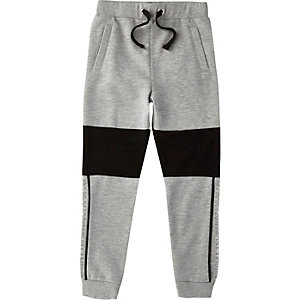 Pantalon de jogging en jersey color block gris chiné Brklyn