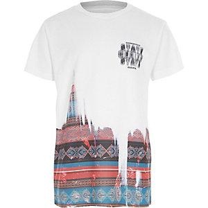 T-shirt blanc imprimé aztèque pour garçon