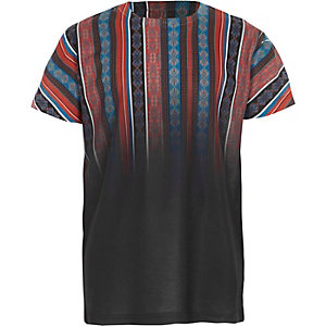 Boys black aztec fade print T-shirt