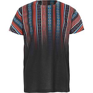 Boys black aztec fade print T-shirt