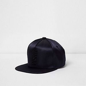 Boys blue 'awsm' satin flat peak cap